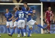 José Mari celebra el primer gol del Xerez