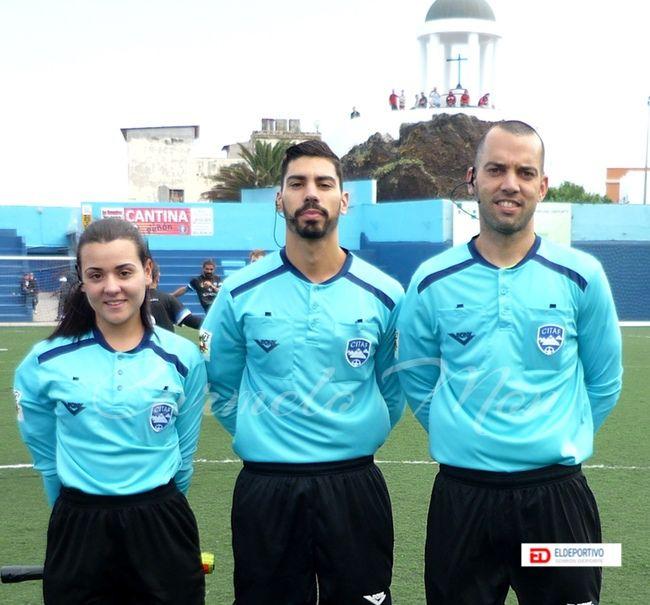 Trío arbitral del encuentro CD Puerto Cruz vs CD Unión Tejina.