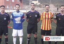 Comienzo del encuentro, trío arbitral y capitanes, San Lorenzo vs Vera.