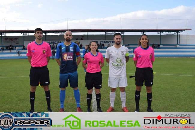 Trío arbitral y capitanes, UD Orotava vs CD Guancha Fortunia.