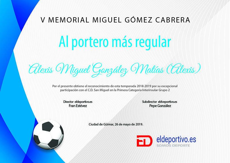 El Diploma que ElDeportivo.es concede a Alexis por su gran temporada.