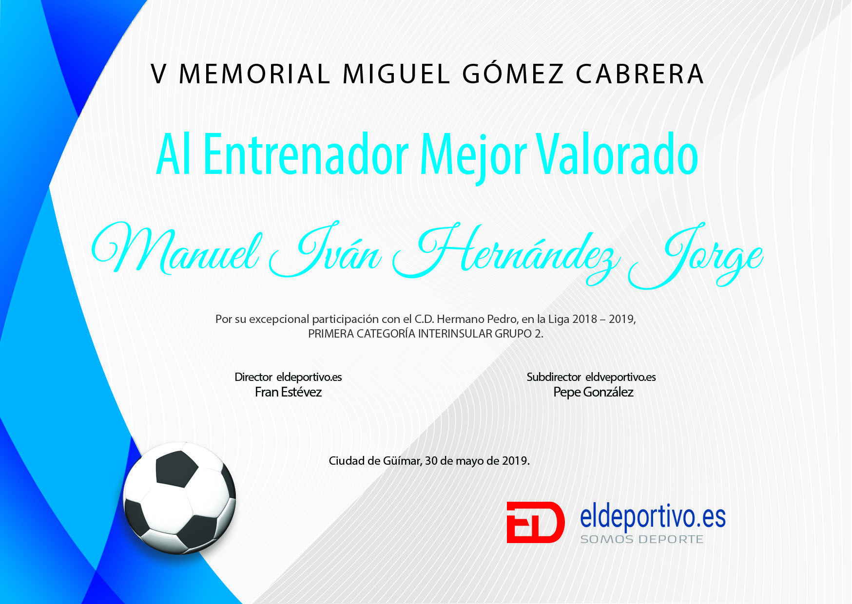 Diploma que se entrega a Ivan Hernández.