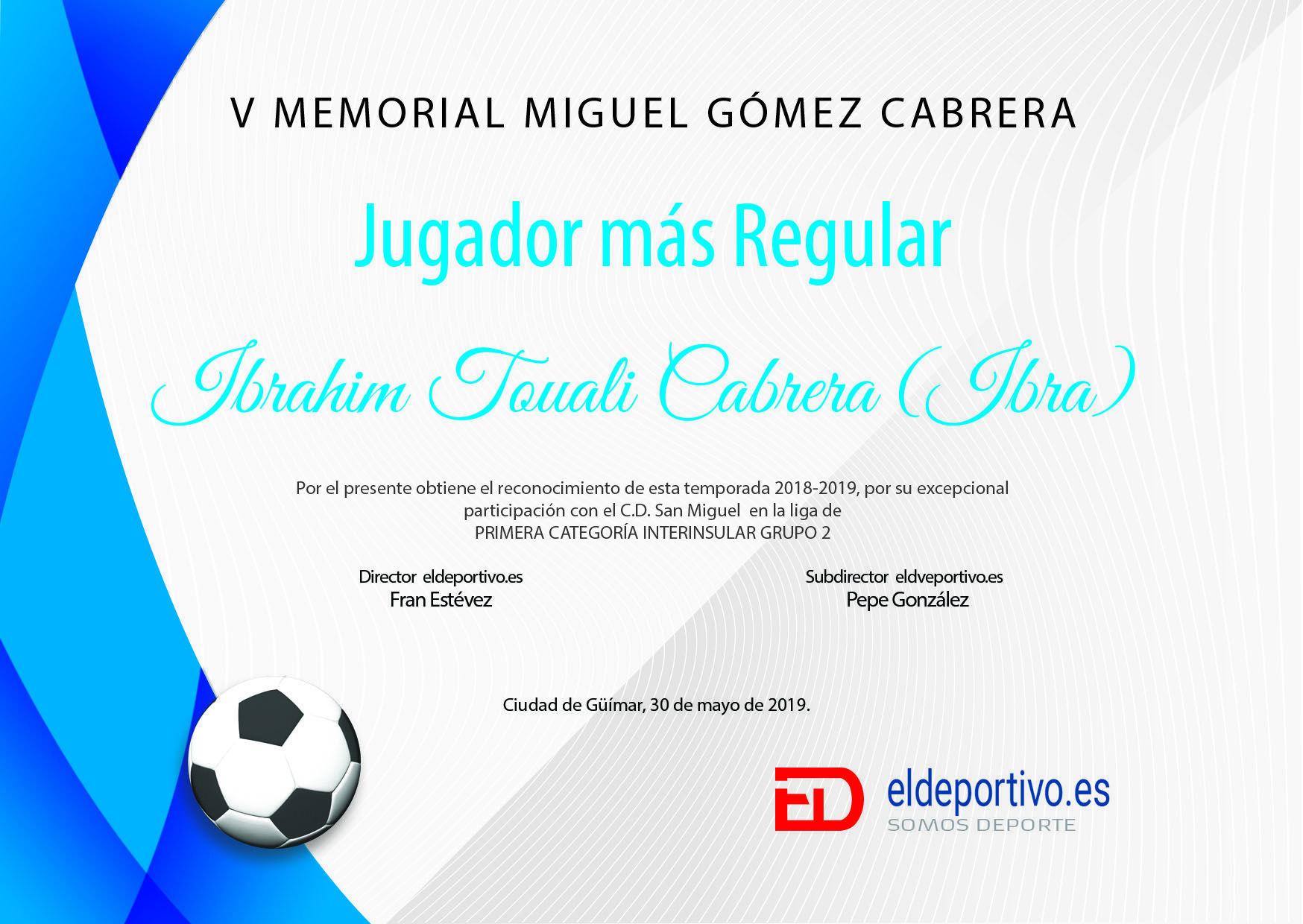 Diploma de Ibra, el jugador más regular de la temporda 2018 - 2019, en el grupo 2.