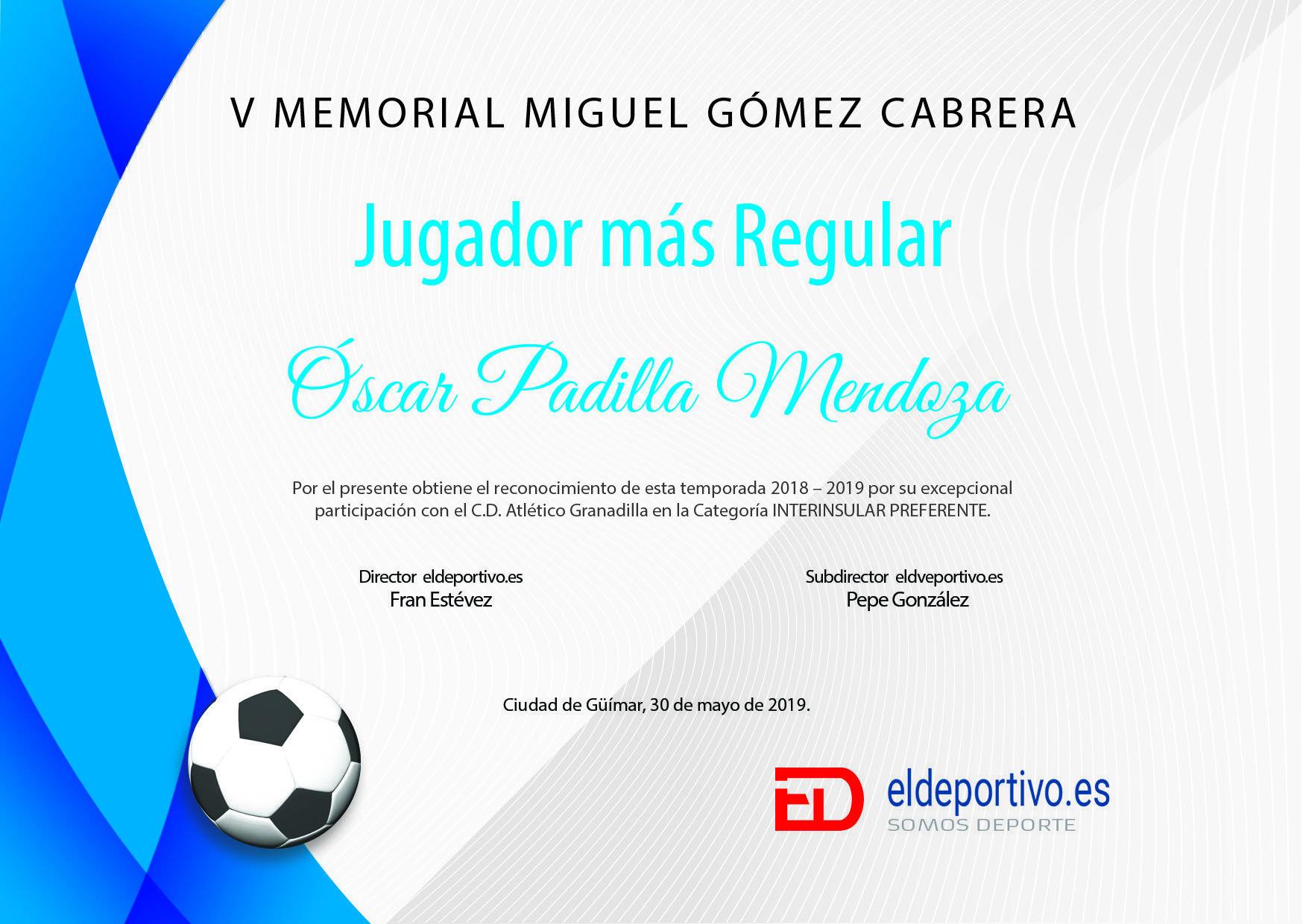Diploma de Óscar Padilla.