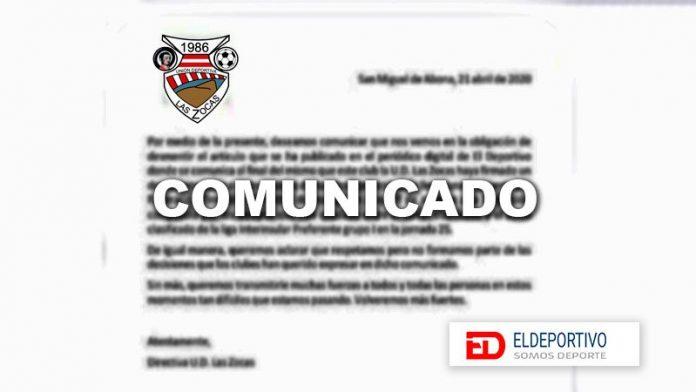 Las Zocas afirma que no ha firmado el comunicado donde se pedía un play off a cuatro.