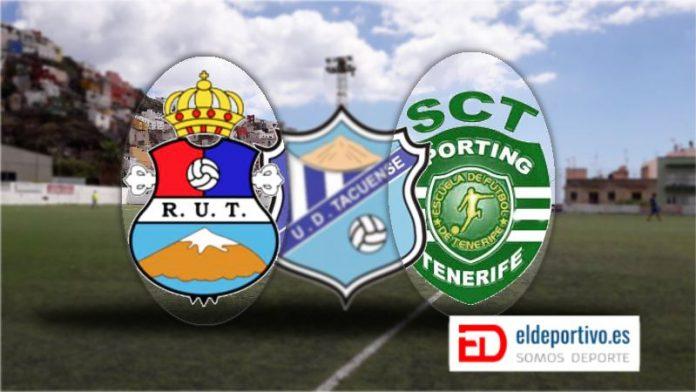 Resaltan los escudos del Real Unión Tenerife y el Sporting. En una fusión que bien no está saliendo.