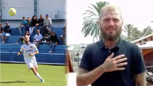 Imágenes de Agoney, en la izquierda en una secuencia jugando en la SD Tenisca, a la derecha en el vídeo promocional de el Barco.
