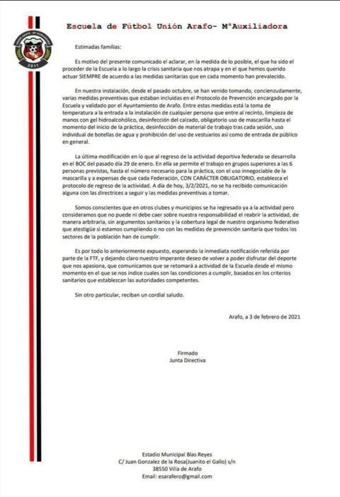 Comunicado Unión Arafo - María Auxiliadora